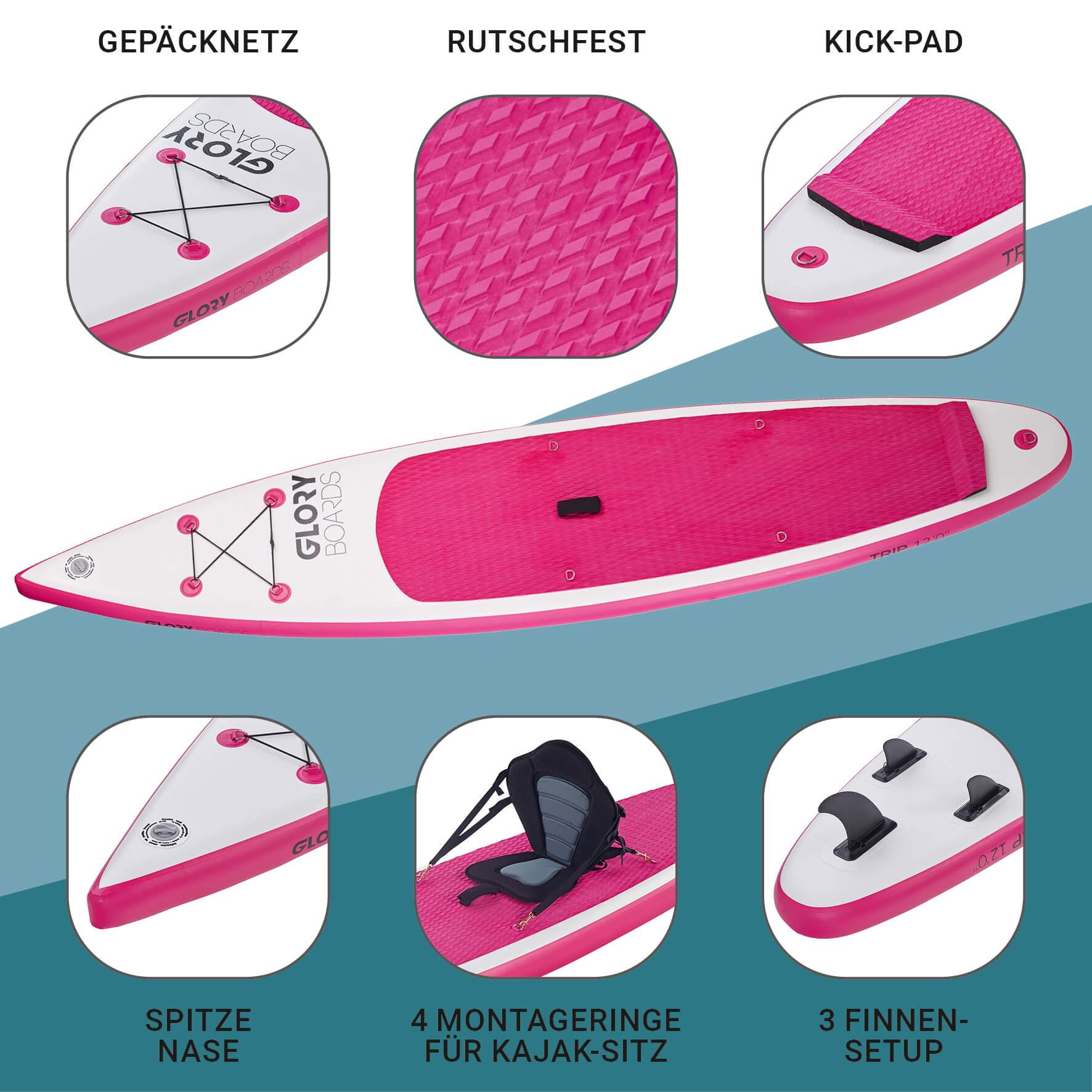 TRIP 12'0'' Touring SUP Set in Pink mit Carbon Paddel