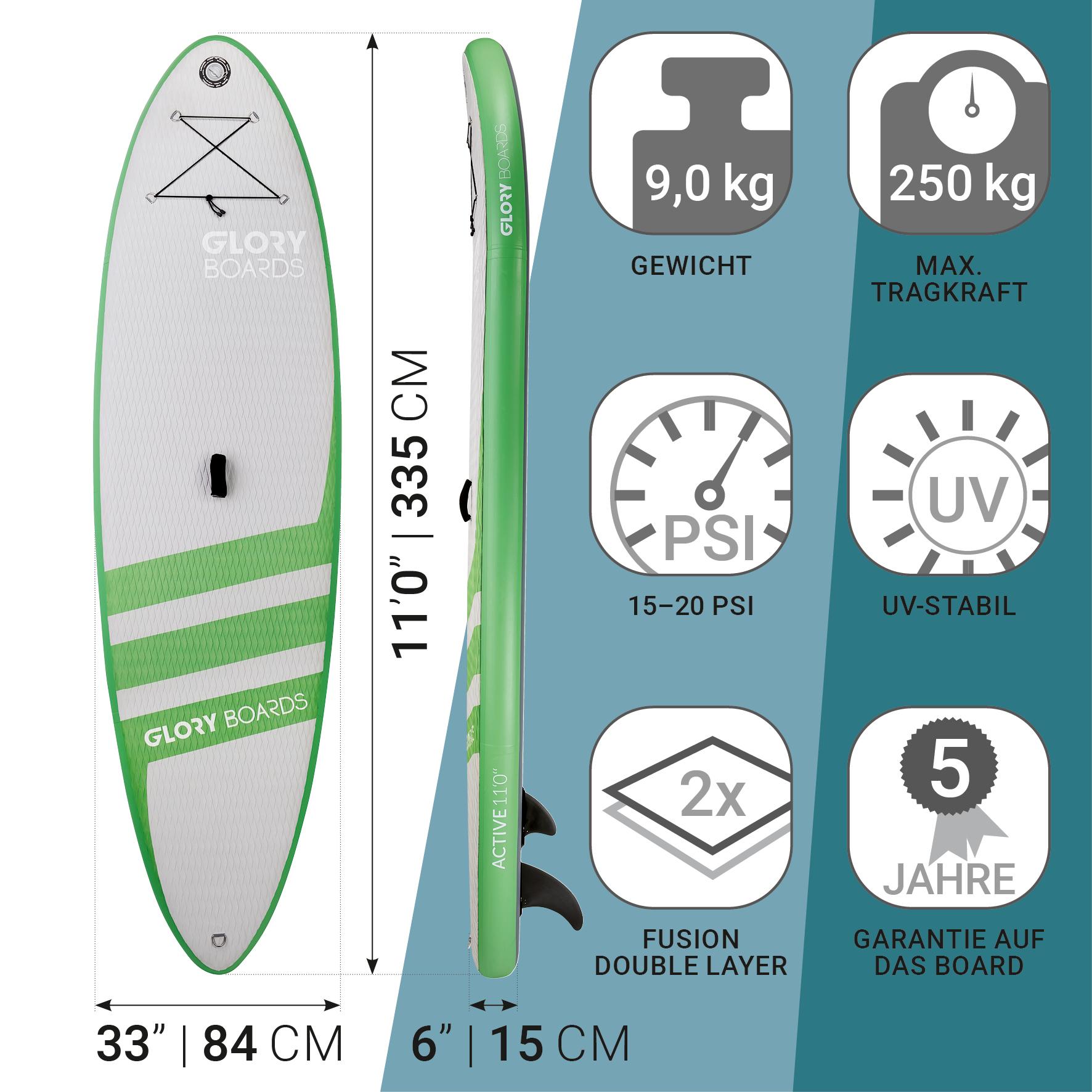 Active 11'0'' Allround SUP Set in Grün mit Carbon Paddel