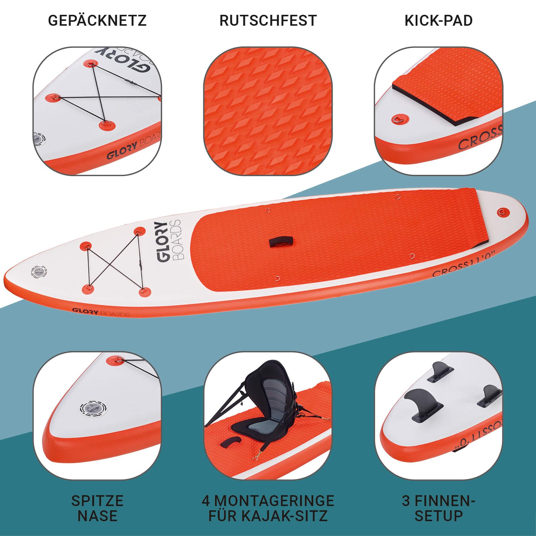 CROSS 11'0'' Allround SUP Set in Orange mit Carbon Paddel