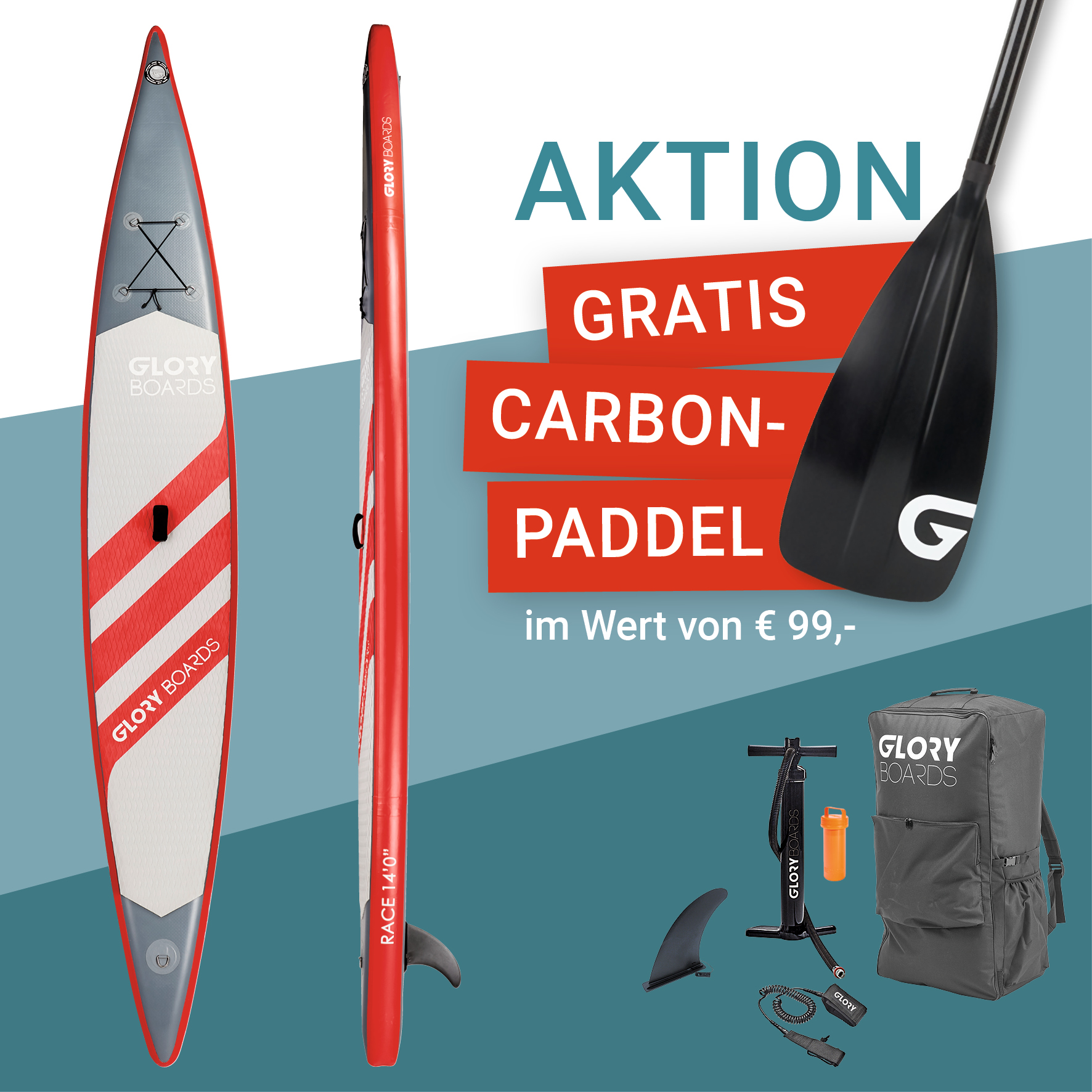 RACE 14'0'' Wettkampf SUP Set in Rot mit Carbon Paddel