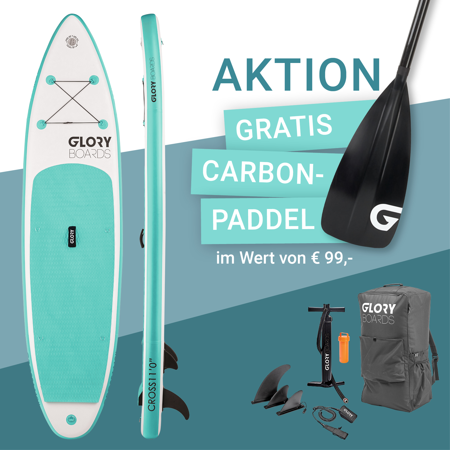 CROSS 11'0'' Allround SUP Set in Mint mit Carbon Paddel