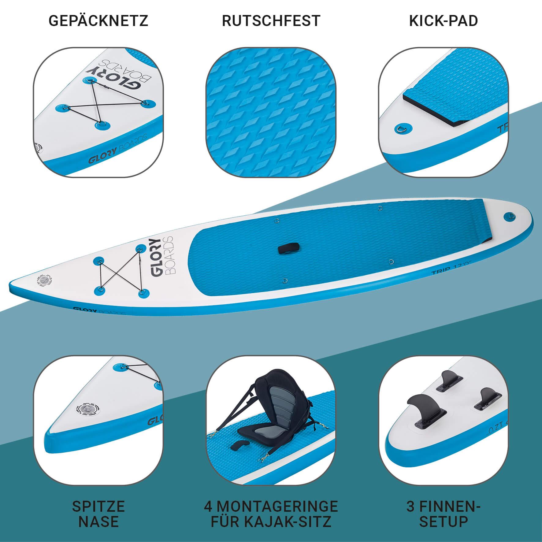 TRIP 12'0'' Touring SUP Set in Blau mit Carbon Paddel