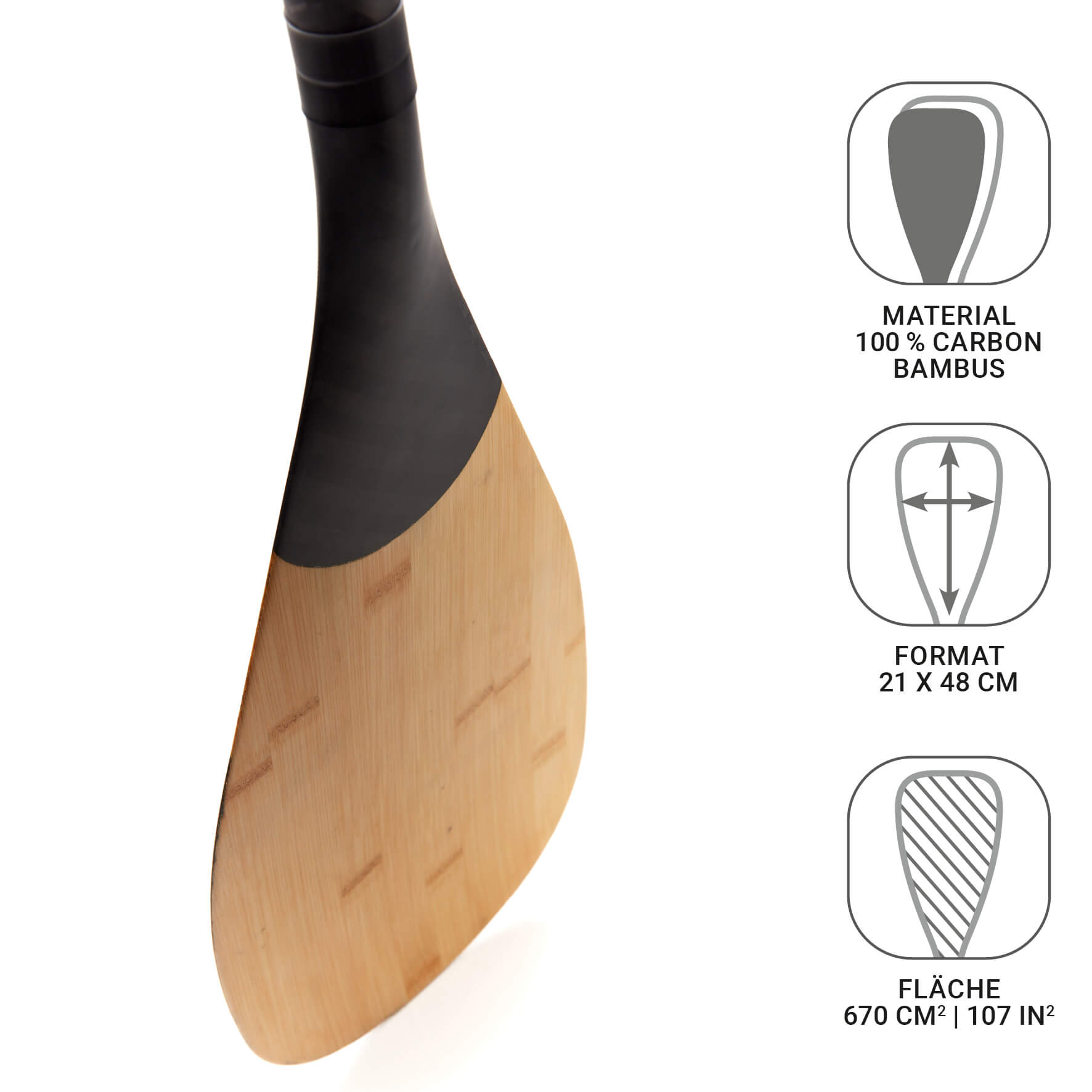 BAMBOO 100% Carbon Touring SUP Paddel 3-Teilig