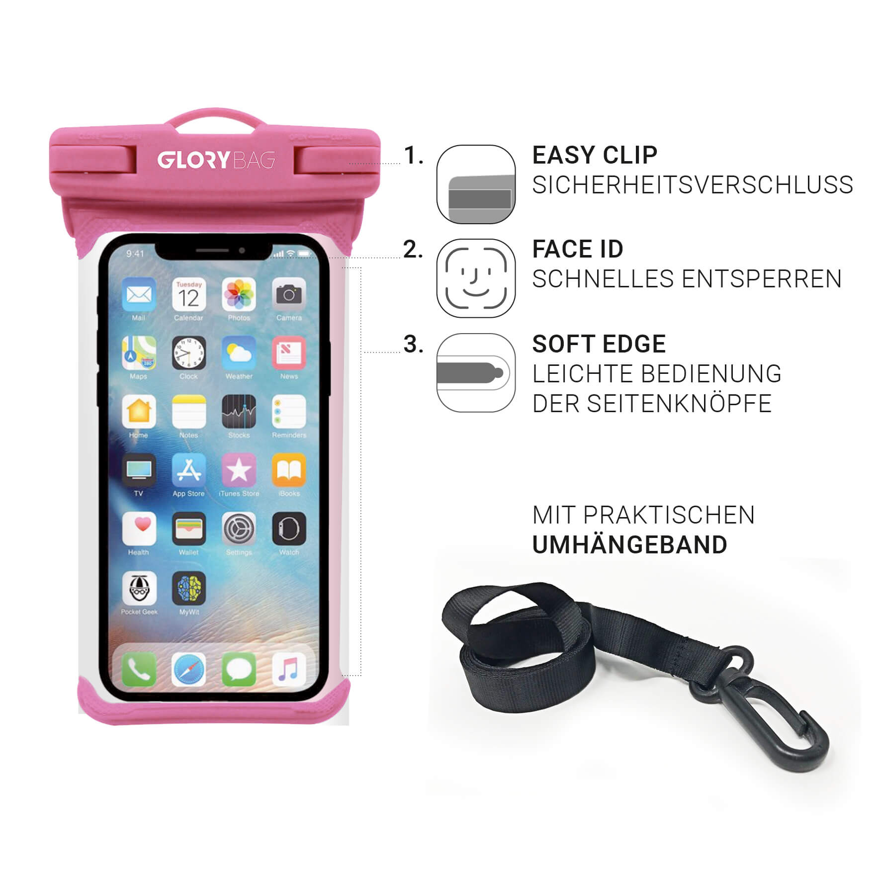 Wasserdichte Handyhülle Pink