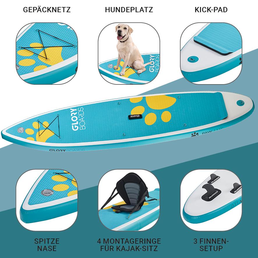 PAW 11'0'' Hunde SUP Set in Türkis mit Carbon Paddel
