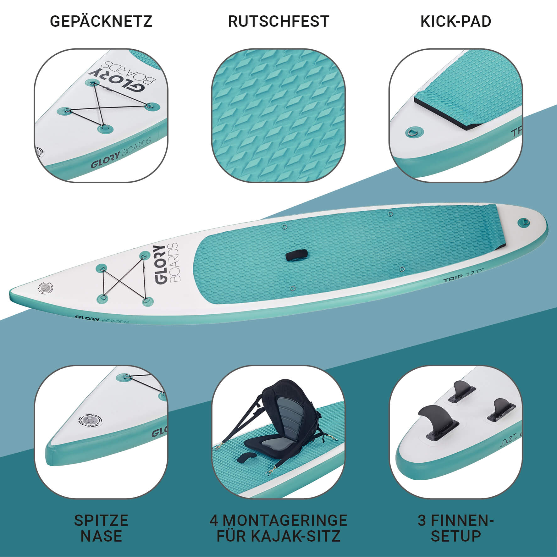 TRIP 12'0'' Touring SUP Set in Mint mit Carbon Paddel