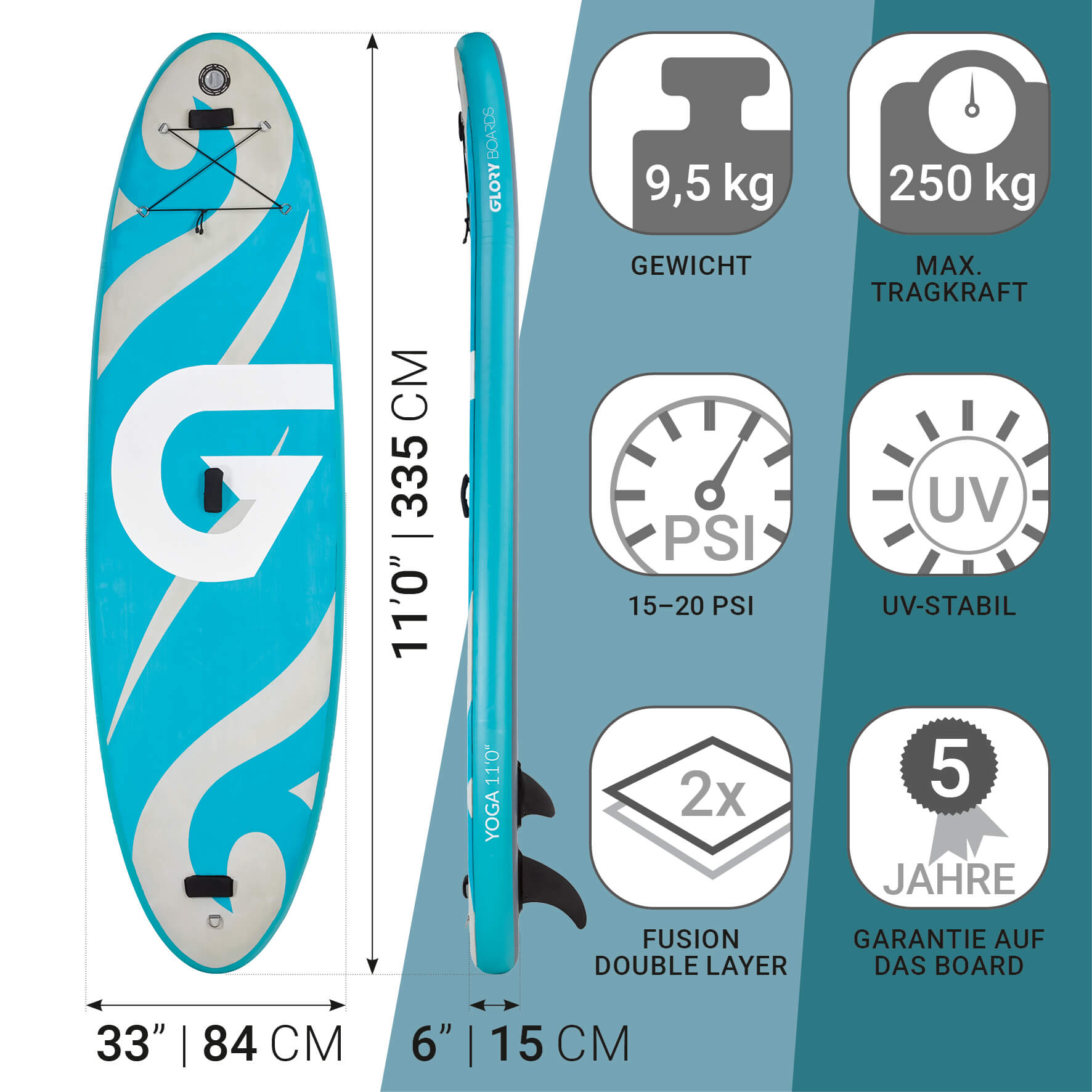 YOGA 11'0'' Balance SUP Set in Türkis mit Carbon Paddel
