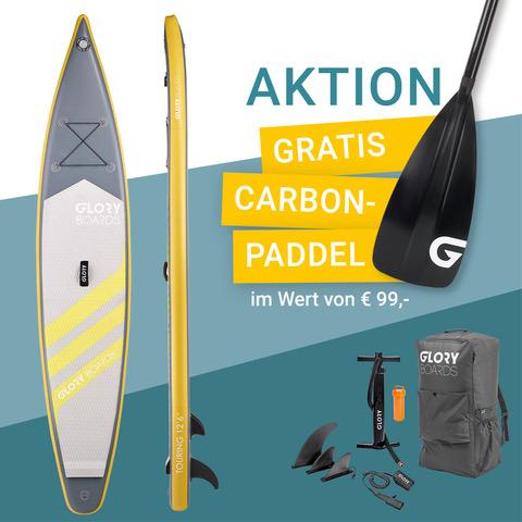 TOURING 12'6'' Touring SUP Set in Gelb mit Carbon Paddel