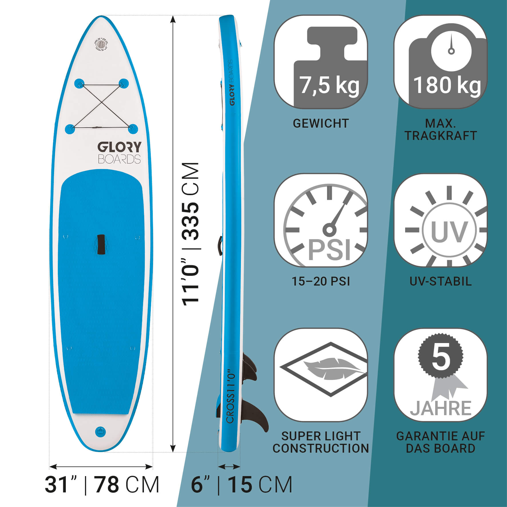 CROSS 11'0'' Allround SUP Set in Blau mit Carbon Paddel
